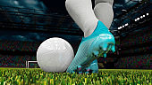 Soccer player is about the kick the ball for freekick goal chance 3d render