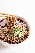 Cold soba noodles, zaru soba, in white bowl