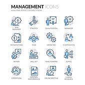 Line People Management Icons