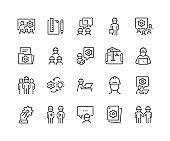 Line Engineering People Icons