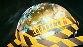 Realistic Earth globe wrapped in stripped security tape with the word lockdown and a padlock symbol, extreme close-up