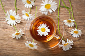 cup of herbal chamomile tea with fresh chamomile flowers