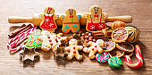 Homemade gingerbread cookies on a wooden table