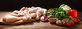fresh chicken meat and ingredients for cooking