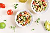 Avocado, prawn, tomato and mozarella salad