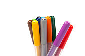 Colorful marker pen set on isolated background with clipping path. Vivid highlighter and blank space for your design or montage