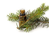 Spruce essential oil in a bottle, with fresh spruce twigs on white background