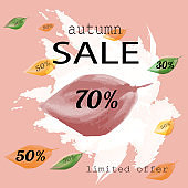 Autumn sale watercolor banner. Elegant sale banner template design with abstract pattern. Vector illustration.