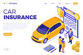 Sale Insurance Rental Sharing Car Isometric