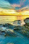 Beautiful seascape during sunset at Laem Ya,Mu Ko Samet National Park,Thailand