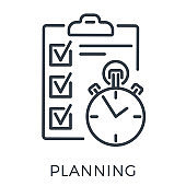 Planning Exam Time Management Line Icon