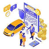 Car Insurance Isometric Concept