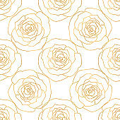 A seamless pattern wit rose flowers. A hand-drawn drawing. Golden contour