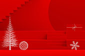 Christmas New Year Concept, Red Background, Staircase Stand Podium