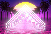 80s Retro Sci-Fi Futuristic Abstract Background with Glowing Frame, Palm Tree and Sea