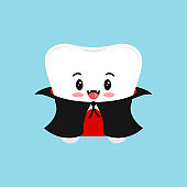 Cute tooth in dracula vampire costume isolated vector icon.