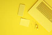 Empty Screen Smartphone and Laptop on Yellow Background