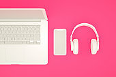 Blank Screen Smartphone and Laptop on Pink Background