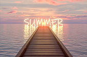 Summer, Wooden bridge pier on the sea, sunset