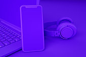 Blank Screen Smartphone and Laptop on Purple Background