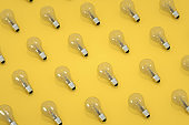 Light Bulb, Minimal Idea Concept, Yellow Background