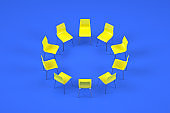 Chairs in circle, teamwork concept.