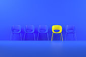 Different chair, teamwork and leadership concept
