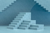 3D Abstract Minimal Stairs, Ladder, Podium