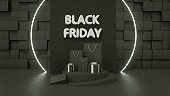 3D Black Friday Concept, Gift boxes and Shopping Bags with Neon lights on black background