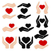Hands holding heart flat vector icon isolated on white background.