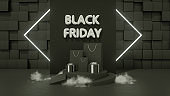 3D Black Friday Concept, Gift boxes, Shopping Bags, neon lights and smoke on black background