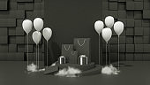 3D Black Friday Concept, Gift boxes, Shopping Bags, Balloons and Smoke on black background