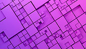3D abstract cube blocks, geometric shapes, futuristic technology background