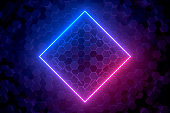 3d abstract background with ultraviolet neon lights, empty frame, glowing tunnel door on hexagon pattern background.