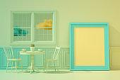 Coffee Shop, Restaurant, Empty Frame, Minimal Retro Design, Color Gradient