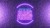 Black Friday Neon Lighting Sign on Brick Wall