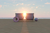 Summer Concept with Beach Chairs and Beach Ball