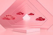 3D Abstract Tunnel Door, Empty Product Stand, Platform, Podium with Cloud
