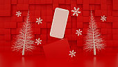 Blank Screen Smart phone with Christmas Tree, Minimal New Year Concept, Zero Gravity, Red Background