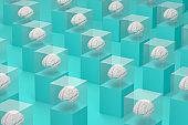 Brain in Glass Box, Artificial Intelligence Concept