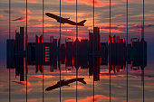 3D City Skyline and Reflections in Sunlight