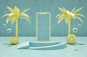 Blank Screen Smart Phone with Palm Tree, Summer Concept