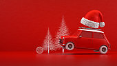 Christmas Travel Holiday Concept, Red Car, Red Background