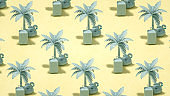 Tropical palm tree, suitcase and flamingo, isometric view summer and travel concept