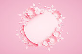3D Empty Frame with Flowers on Pink Background