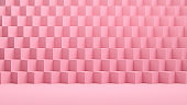 3D Isometric Cubes Pattern, Pink Color Background