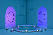 3D Product Stand, Pedestal, Blue Background, Neon Lights