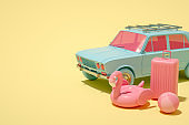 3D Car and Luggage, Minimal Summer and Travel Concept