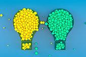 Light Bulb, Minimal Idea Concept, Blue Background
