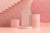 Blank Screen Smartphone on Pink Background with Empty Podiums, Minimal Design